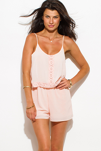 $20 - Cute cheap blush pink chiffon tiered crochet trim spaghetti strap open back boho romper jumpsuit
