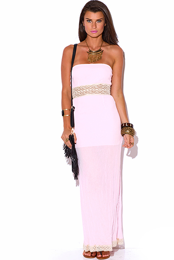 $10 - Cute cheap gauze crochet maxi dress - light pink crochet trim cotton gauze strapless summer resort maxi sun dress