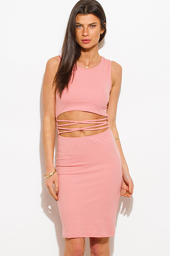 $15 - Cute cheap blush pink sheer stripe mesh low v neck bodysuit bodycon midi dress - blush pink cut out criss cross caged front sexy clubbing midi dress