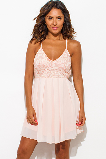 $10 - Cute cheap summer dress - blush pink lace overlay backless criss cross strap a line skater boho mini sun dress