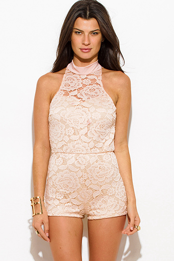 $20 - Cute cheap pink lace fitted jumpsuit - blush pink lace overlay high neck bodycon fitted cut out backless romper playsuit jumpsuit