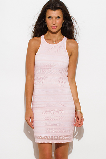 $15 - Cute cheap lace fitted party mini dress - blush pink lace overlay racerback bodycon fitted sexy club mini dress