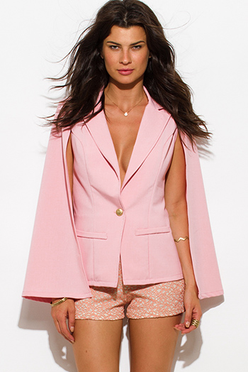$30 - Cute cheap pink blazer - blush pink military button cape jacket suiting blazer top