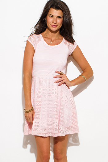 $25 - Cute cheap belted shorts attached long semi sheer skirt 20301 - blush pink semi sheer lace cap sleeve fitted a line skater mini dress