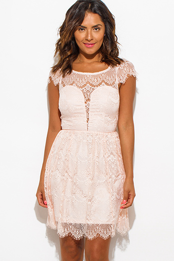 $20 - Cute cheap black sheer embroidered sheer mesh maxi dress 86973 - blush pink sheer lace overlay a line cap sleeve keyhole back cocktail mini dress