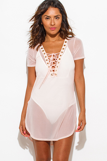 $15 - Cute cheap v neck sheer top - blush pink sheer mesh short sleeve deep v neck laceup beach cover up tunic top
