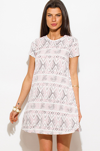$15 - Cute cheap print slit boho tunic - blush pink tribal print ribbed knit short sleeve boho shift mini tunic dress