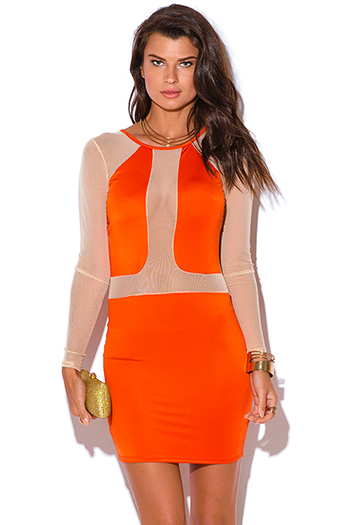 $5 - Cute cheap cute juniors dolman sleeve color block ruched sexy clubbing dress - mesh sleeve orange color block fitted bodycon club mini dress