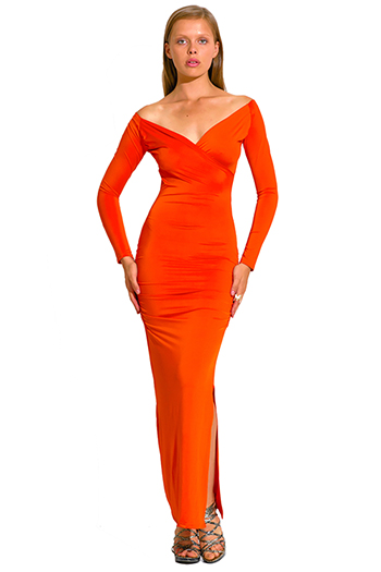 $20 - Cute cheap color orange dress - orange deep v neck long sleeve high slit formal evening sexy party maxi dress