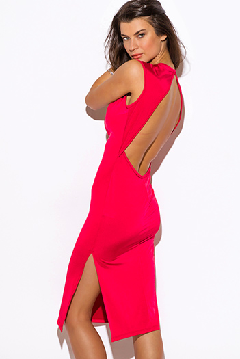$20 - Cute cheap fitted dress - bold red deep v neck  sweetheart backless double slit fitted midi dress