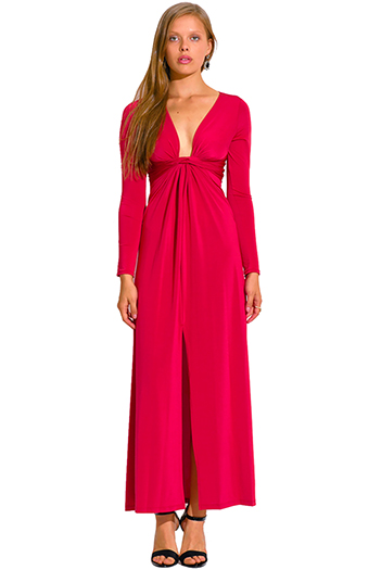 $20 - Cute cheap red v neck dress - crimson red deep v neck knot high slit long sleeve formal evening sexy party maxi dress