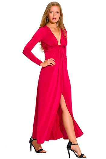 $10 - Cute cheap floral slit evening dress - crimson red deep v neck knot high slit long sleeve formal evening sexy party maxi dress