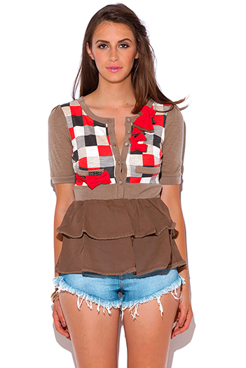 $3 - Cute cheap mocha checker plaid bow tie ruffle shoolgirl top
