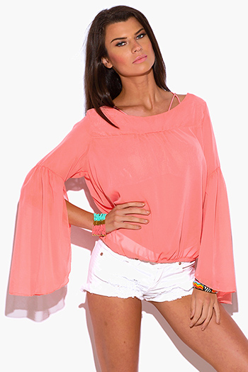$7 - Cute cheap belted shorts attached long semi sheer skirt 20301 - coral pink semi sheer chiffon bell sleeve boho blouse top