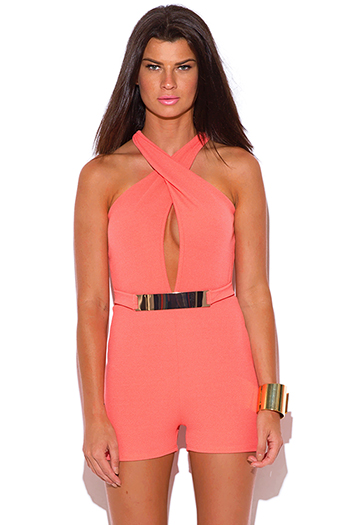 $8 - Cute cheap coral party jumpsuit - coral pink bejeweled belted cut out back bodycon fitted sexy clubbing romper jumpsuit