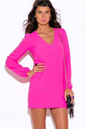 $25 - Cute cheap dress by colors pink dress shop size xl - bright hot pink backless cut out blouson long sleeve sexy party shift mini dress