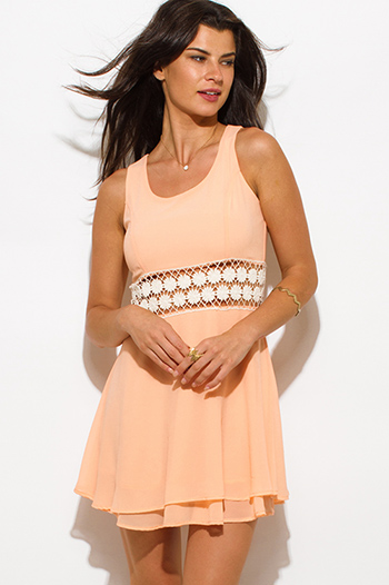 $15 - Cute cheap clothes - bright peach orange chiffon cut out crochet trim tiered boho a line skater mini dress