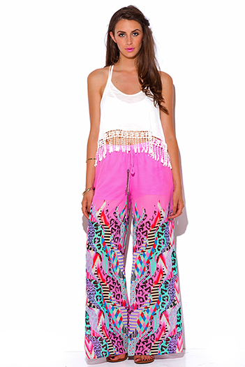 $25 - Cute cheap cute womens shorts attached black lace wide leg pants - bright pink multi color animal print chiffon wide leg boho pants