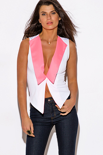 $5 - Cute cheap jacket - white neon pink color block suiting scuba vest top