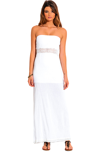 $10 - Cute cheap strapless crochet maxi dress - white crochet cotton gauze strapless summer boho maxi sun dress