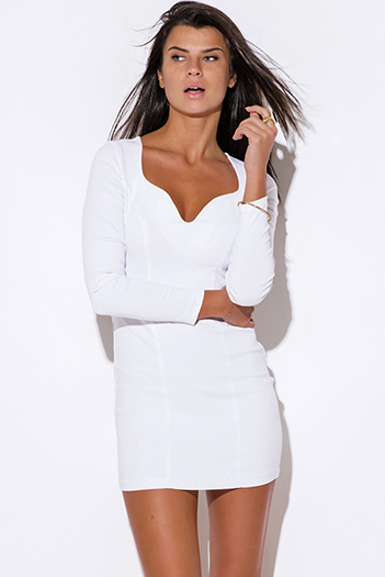 $10 - Cute cheap backless dress - bright white sweetheart backless fitted sexy clubbing party mini dress