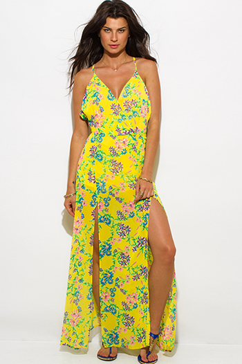 $20 - Cute cheap double buckle fashion waisted belt forest green 71452.html - bright yellow floral print double high slit backless criss cross maxi sun dress