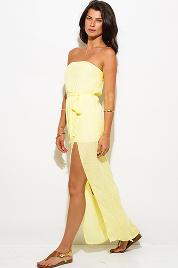 $15 - Cute cheap strapless slit sun dress - bright yellow rayon gauze strapless front high slit waist tie sexy party maxi sun dress