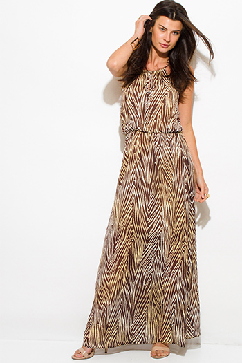 $25 - Cute cheap white evening sun dress - brown abstract animal print chiffon keyhole halter neck backless evening maxi sun dress