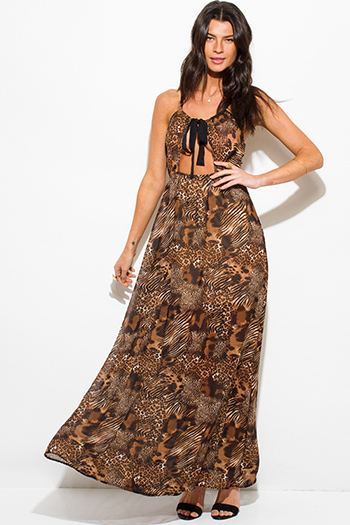$15 - Cute cheap print slit kimono dress - brown abstract animal print cut out halter cross back maxi sun dress