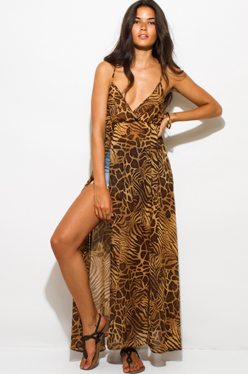 $20 - Cute cheap chiffon off shoulder boho dress - brown abstract animal print semi sheer chiffon double high slit boho maxi beach cover up sun dress