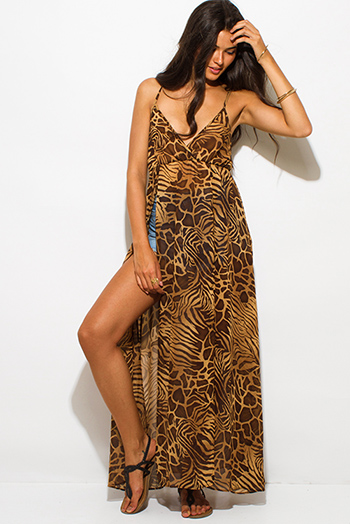 $20 - Cute cheap chiffon boho maxi dress - brown abstract animal print semi sheer chiffon double high slit boho maxi beach cover up sun dress