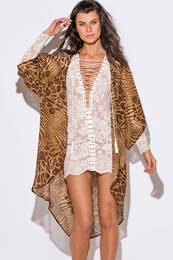 $15 - Cute cheap belted shorts attached long semi sheer skirt 20301 - brown abstract animal print semi sheer chiffon boho kimono jacket