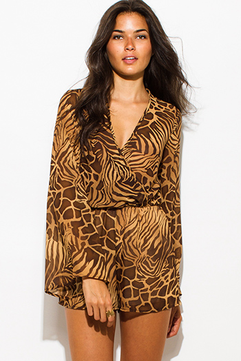$20 - Cute cheap belted shorts attached long semi sheer skirt 20301 - brown abstract animal print semi sheer chiffon long bell sleeve boho romper playsuit jumpsuit