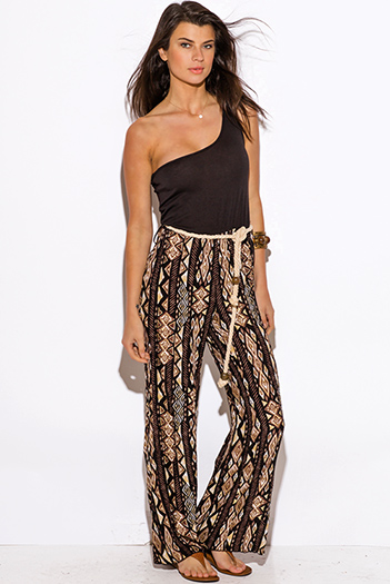$15 - Cute cheap jumpsuit for women - brown ethnic print one shoulder rope sash 2fer boho wide leg jumpsuit