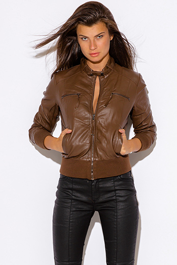 $15 - Cute cheap leather bomber jacket - brown faux zipper trim leather ribbed bomber moto jacket