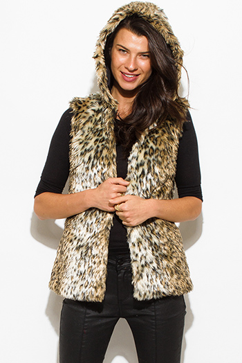 $30 - Cute cheap caramel brown faux leather ribbed bomber moto jacket - brown gold faux fur cheetah animal print hooded vest