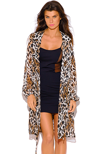 $20 - Cute cheap black semi sheer chiffon button up high low hem tunic top midi dress - brown leopard animal print chiffon blouson sleeve semi sheer double breasted trench coat dress