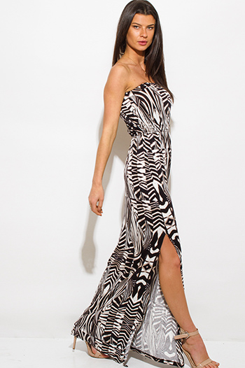 $20 - Cute cheap clothes - brown multicolor abstract print strapless side slit resort maxi sun dress