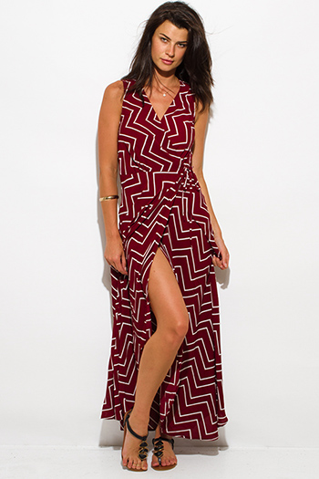 $20 - Cute cheap clothes - burgundy red chevron stripe print sleeveless high slit wrap evening sexy party maxi sun dress