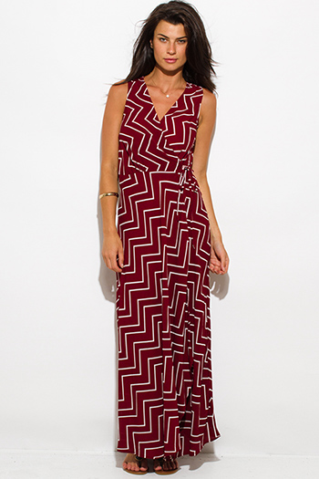 $20 - Cute cheap print sexy party sun dress - burgundy red chevron stripe print sleeveless high slit wrap evening party maxi sun dress