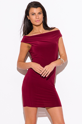 $10 - Cute cheap cute junior off shoulder denim jumpsuit - burgundy red off shoulder fitted sexy clubbing mini dress