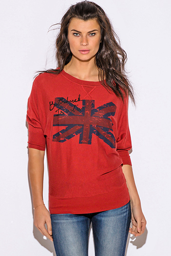 $15 - Cute cheap cheap clothes embroidered kimono sleeve boho tunic top - rust red UK graphic print off shoulder dolman sleeve ribbed tunic sweater top