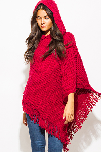 $20 - Cute cheap fringe top - burgundy wine red basket weave hooded fringe trim sweater knit poncho tunic top