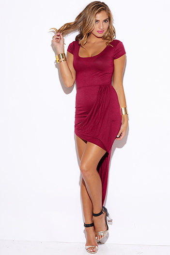 $15 - Cute cheap high low dress - burgundy wine red grecian draped fitted high low sexy club dress