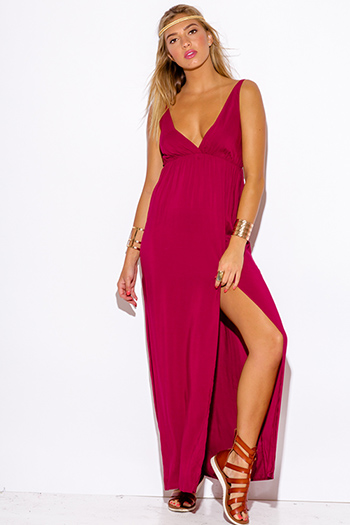 $20 - Cute cheap vip mesh high slit one shoulder navy blue evening romper jumpsuit 2325 - burgundy wine red high slit deep v neck evening sexy party boho maxi dress