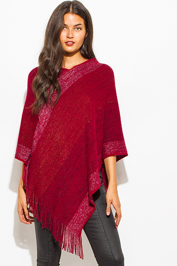 $20 - Cute cheap clothes - burgundy wine red multicolor v neck boho fringe poncho sweater knit tunic top