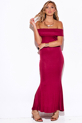 $15 - Cute cheap off shoulder dress - burgundy wine red off shoulder fold over evening sexy party jersey maxi dress
