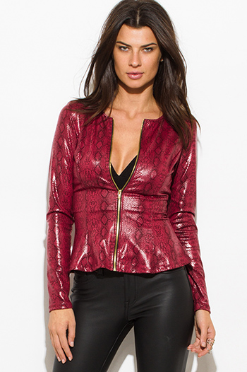 $15 - Cute cheap wine burgundy red checker grid print button up long sleeve boho blouse top - burgundy wine red python snake animal print faux leather long sleeve zip up peplum jacket top