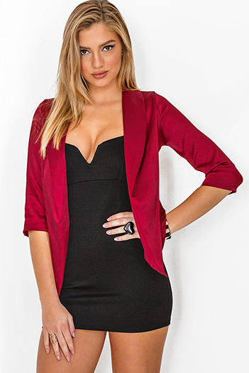 $15 - Cute cheap jacket - burgundy wine red satin open blazer top