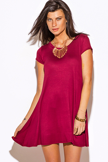 $15 - Cute cheap top - burgundy wine red short sleeve tee shirt tunic top mini dress